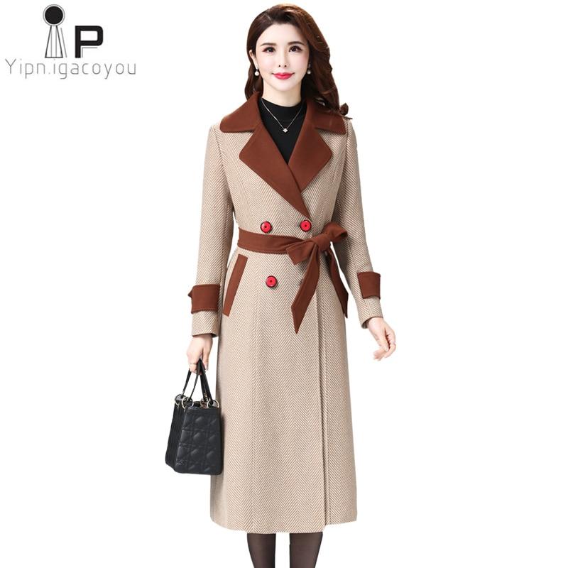 2019 Winter Wool Coats Women Elegant Long Woolen Jacket Office Lady Warm Mujer Outerwear Slim Large Size Trench Coat Female 4XL