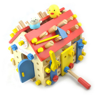 ФОТО Baby Toys Simulation Wooden Screw House Removable Toy Baby Educational Multifunctional Nut Combination Toy Gift