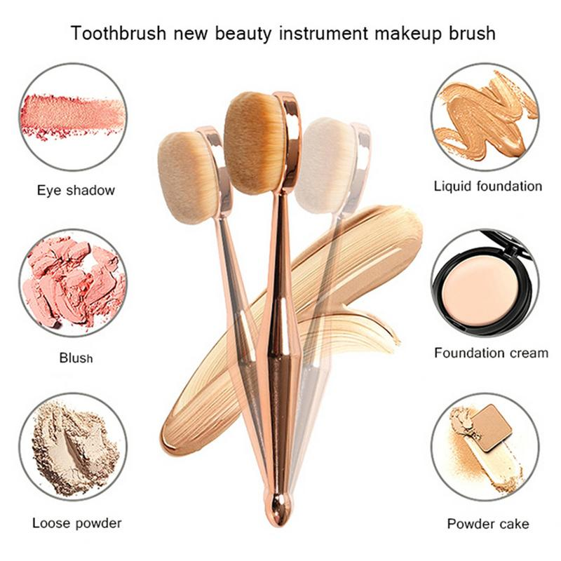 Red Dieny Make Up Brush Toothbrush Shaped New Beauty Instrument Makeup Brush Multi-functional Base Oval Brush Rose Gold Dropship image