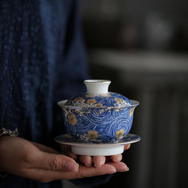 PINNY STARRY NIGHTColor Enamel Gaiwan Handpainted Ceramic Tea Tureen Kung Fu Set Chinaware Chinese Service