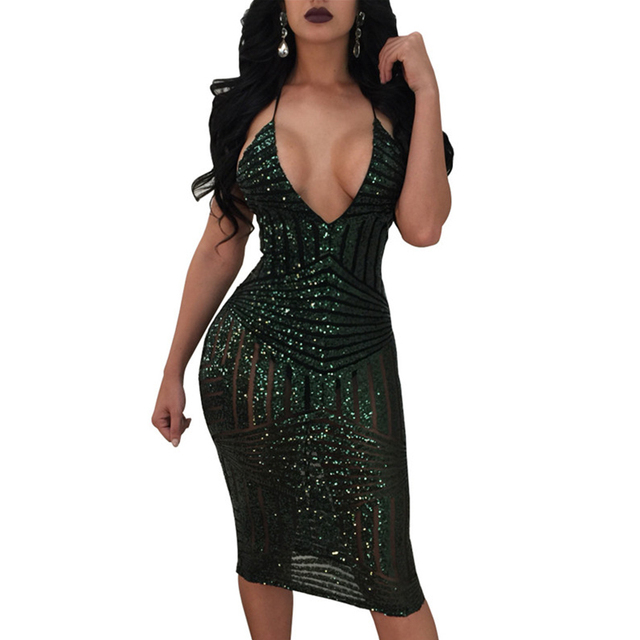 3d1f6ef1197 Sexy V-Neck Mesh Sheer Sparkly Gold Sequin Dress Elegant Evening Paillette  Robe Criss Cross Back Shining Bodycon Party Dresses