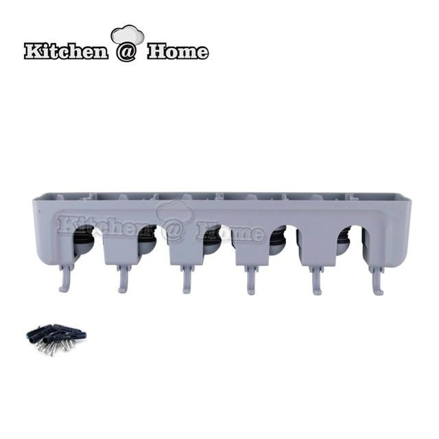 Brush Storage Hanger Rack Kitchen Mop Broom Holder Wall Mounted Organizer  Tool 5 Positions 6 Hooks
