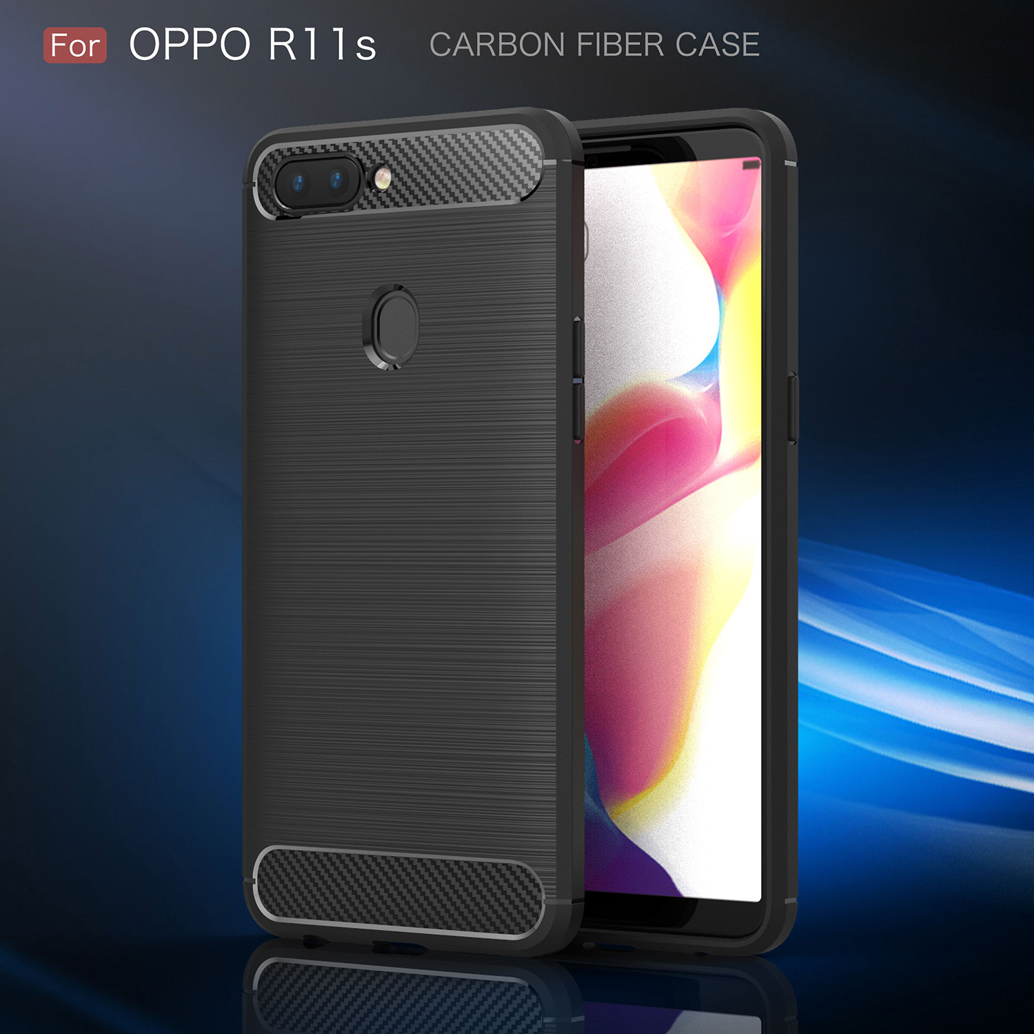 TPU Case for Oppo R11s Dual SIM TD-LTE APAC CPH1719 Carbon Fiber Cover for Oppo R11 s Phone Cases