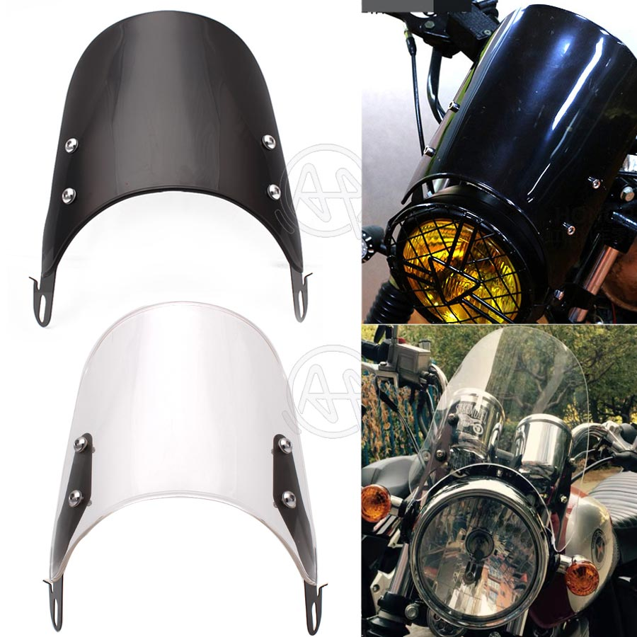 Black/Clear Motorcycles Custom Compact Sport Wind Deflector Retro Windshield 4-7'' Headlamp Universal Fit For Yamaha Harley