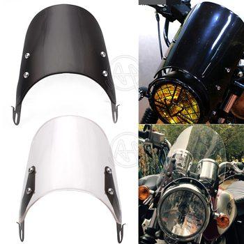 Cam 4 U >> Siyah Acik Motosikletler Ozel Kompakt Spor Ruzgar Deflektoru Retro Cam 4 7 Far Evrensel Fit Yamaha Harley