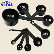 10pcs Black Color Measuring Cups And Measuring Spoon Scoop Silicone Handle Kitchen Measuring Tool FreeShipping(China)