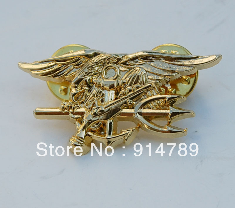 US NAVY SEAL EAGLE ANCHOR TRIDENT MINI MEDAL UNIFORM INSIGNIA BADGE GOLD-33147