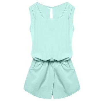ACEVOG Summer Jumpsuit 2019 Women Playsuit Jumpsuit Casual Sexy Lady Sleeveless Backless Elastic Waist Print Mini Romper overall 5