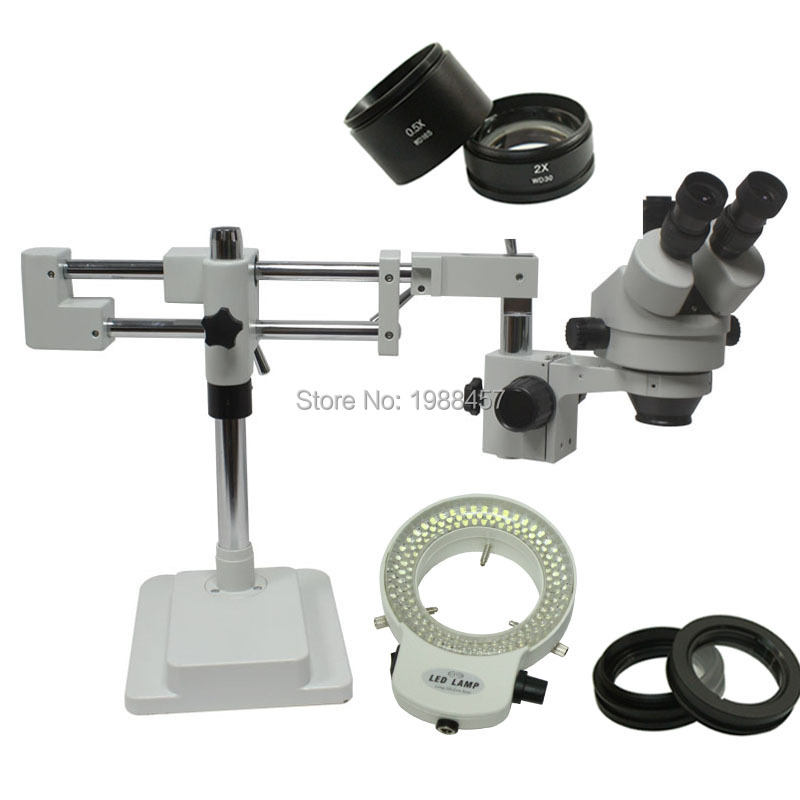 3.5X-90X Double Arm Boom Stand Trinocular Stereo Zoom Microscope For Mobile Phone Chip CPU Watch Repair Jewelry Identification