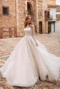 Image 4 - Robe De mariée en dentelle à manches longues ligne A, robe De mariée élégante avec boutons détachables au dos, robe De mariée
