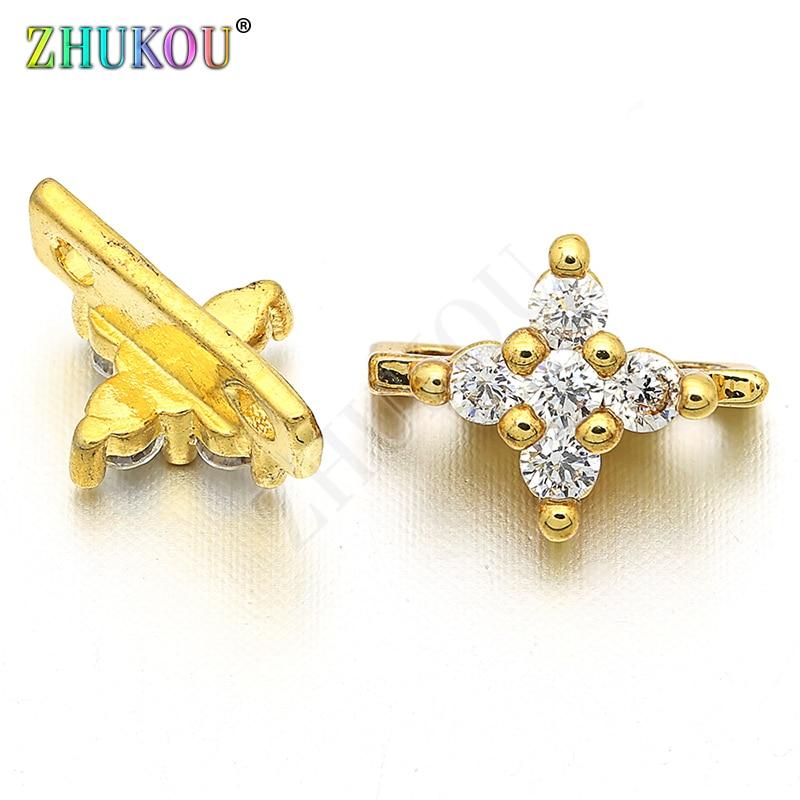 7*10mm Brass Cubic Zirconia Cross Connectors DIY Jewelry Making Accessories Parts, Model: VS38