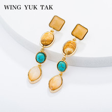 wing yuk tak Natural Stone Water Drop Earrings For Women Fashion Long Boho Ethnic Female 2019