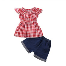 2018 Summer Toddler Kids Girl Plaid Sleeveless Top T-shirt Denim Shorts Outfits Fashion Clothes new
