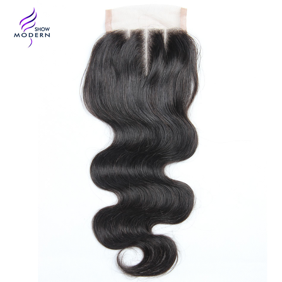 Modern Show Body Wave Closure Swiss Lace Three Part Remy Human Hair Weave Closure 130 Density