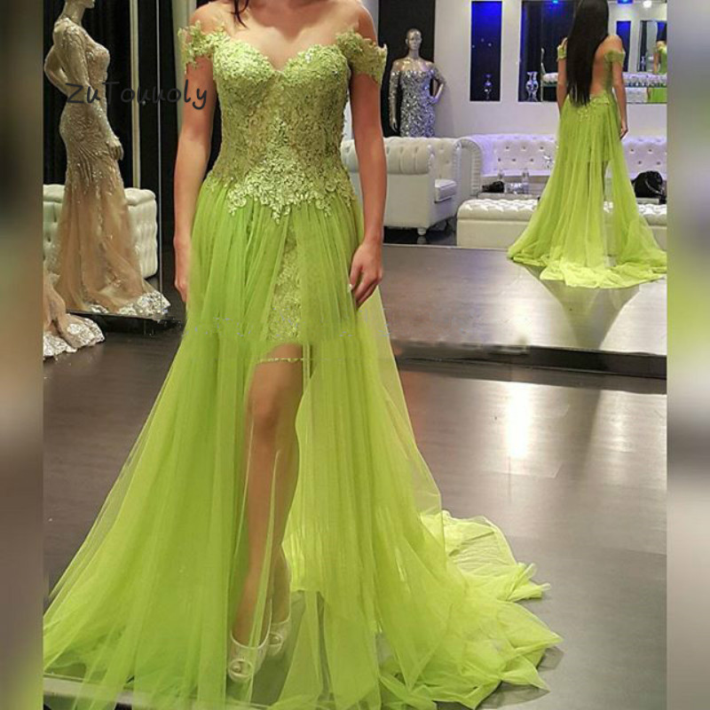 Vintage Lime Green   Prom     Dress   Off Shoulder Appliques Tulle Plus Size Long Party   Dress   2019 Junior Graduation Evening   Dresses