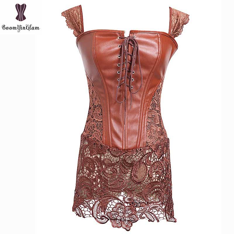 Corset Dress With Laciness Skirt Plus Size 6XL Steampunk Bustier Black Red Brown Corselet Faux Leather Outwear Dress Bone Korset 14