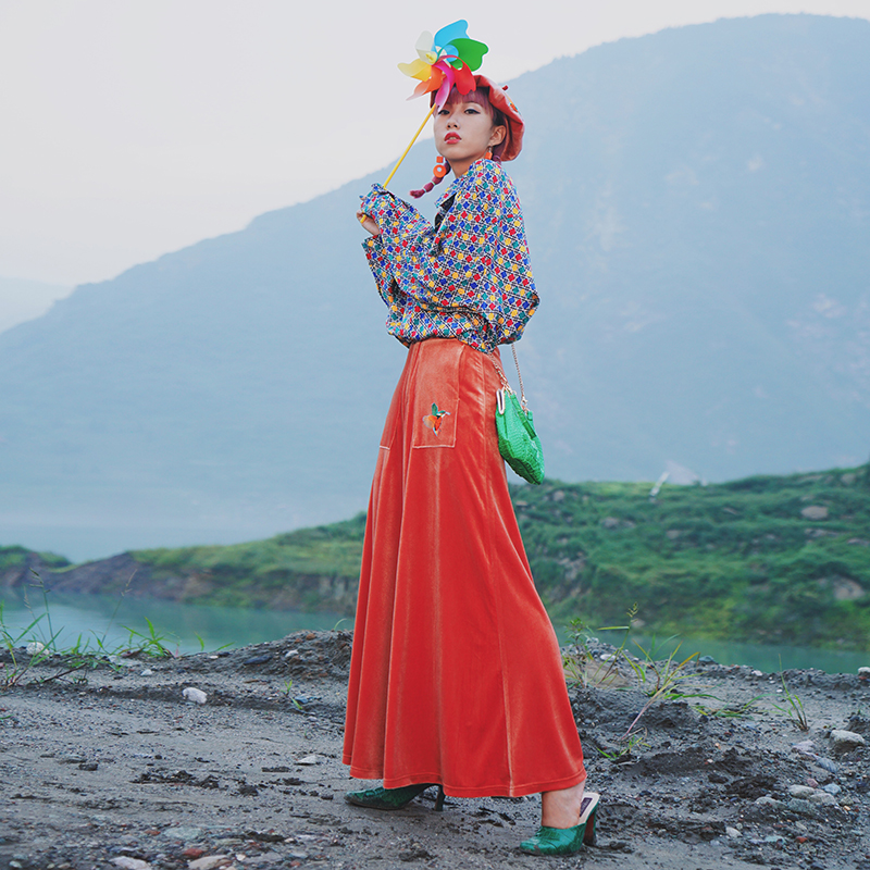 Red Harajuku watermelon Femmes Personnalité Green Jambe pourpre Noir bleu jwc Large Pantalon Lâche Haute Broderie rose Nouveauté Casual Automne olive aigyptos Qualité Velours p1nB4qxw0S