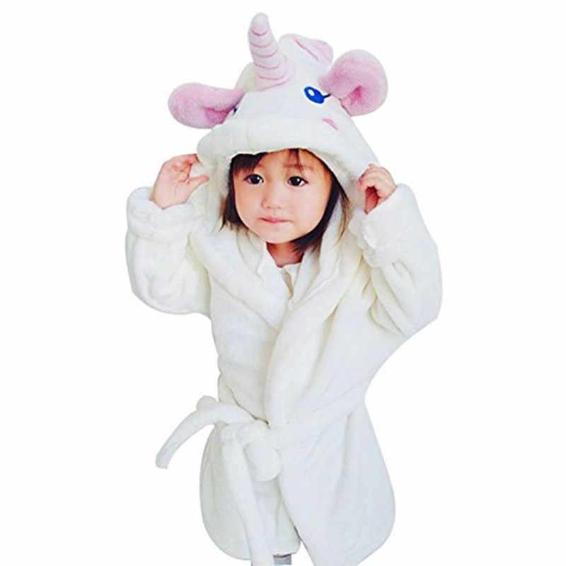 ea98f4fec Batas de baño para chicas unicornio camisón bebé niños de terciopelo de los  niños pijamas de