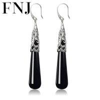 FNJ 925 Silver Black Stone Earring S925 Sterling Silver Drop Earrings Women Jewelry LE19