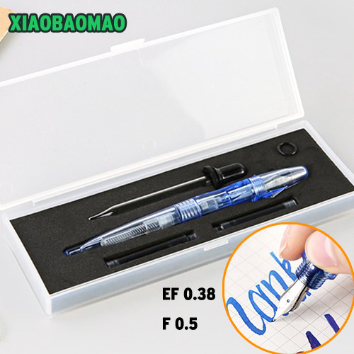 Gift Box High Quality Transparent Fountain Pen 0.38mm 0.5mm Meduim Fine Nib Students Office EF F Color Sign Pen Gift 9901 fine financia pen student pen art fountain pen 0 38 0 5 0 8mm optional gift box set