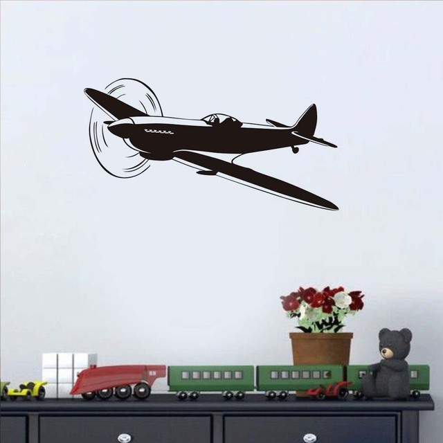 Free Shipping Baby Nursery Wall Sticker Diy Clic Airplane Decal Silhouette For Kids Room Removable