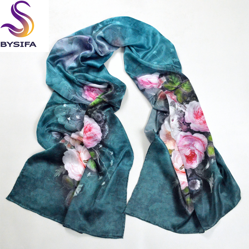100% Natural Silk Women Jasper Long   Scarf     Wraps   Brand Shawl Autumn And Winter Floral Pattern Silk   Scarf   Printed 178*52cm