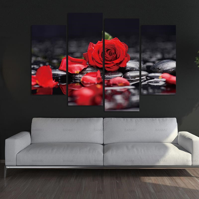 Canvas pictura decoratiuni de perete de arta Print Lotus alb floare în negru Art Wall imagine cu picturi moderne de perete Imagine modulare
