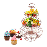 3 Tier Circle Round Gold Metal Party Birthday Kitchen Cupcake Cake Stand Rack Pan for Fruit Dessret Display Stand Decoration