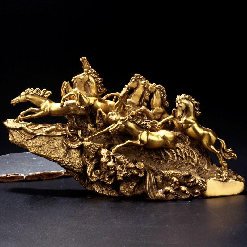 30 CM de Large-TOP COOL art collection-2019 maison bureau chambre décor-8 beaux chevaux ART bronze statue sculpture décoration