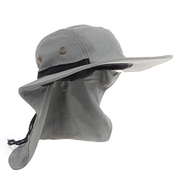 d865269f Summer Hiking Camping Visor Hat UV Protection Face Neck Cover Fishing Sun  Protect Cap Outdoor Sport Breathable Fishing Caps