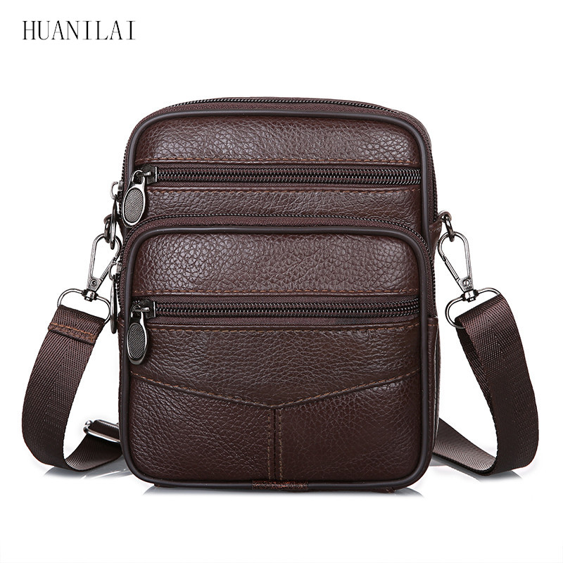 af877f754fdb HUANILAI Для мужчин на ремне сумки из натуральной кожи мужские сумки через  плечо коровьей Курьерские сумки