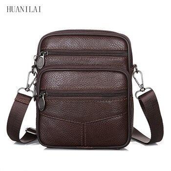 85ae757d08ae HUANILAI Для мужчин на ремне сумки из натуральной кожи мужские сумки через  плечо коровьей Курьерские сумки коричневые сумки TY001