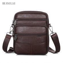 цена на HUANILAI Men's Bag  Shoulder Bags Genuine Leather Crossbody Bags For Men Cowhide Messenger Bags Brown Handbags TY001