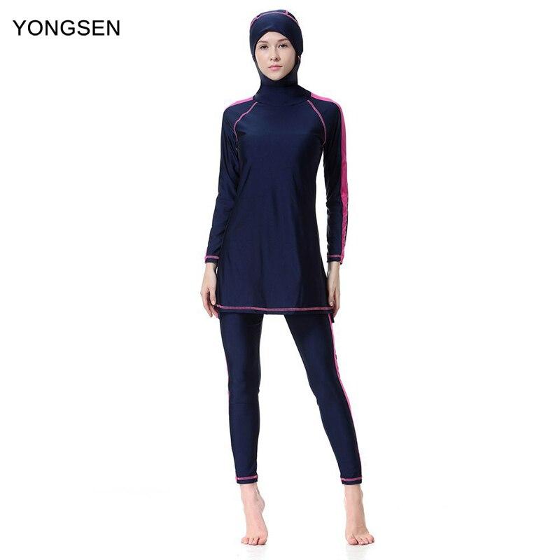YONGSEN Muslim Swimwear Women Plus Size Burkinis Islamic Hijab Islam Arab Beach Wear Patchwork Muslim Full Coverage Swimsuits