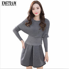 KMETRAM 2019 Two Pieces Set Sweater Winter Dress Women Office Wear Slim Gray Pullover Knitted Dresses Plus Size Vestidos HH618(China)