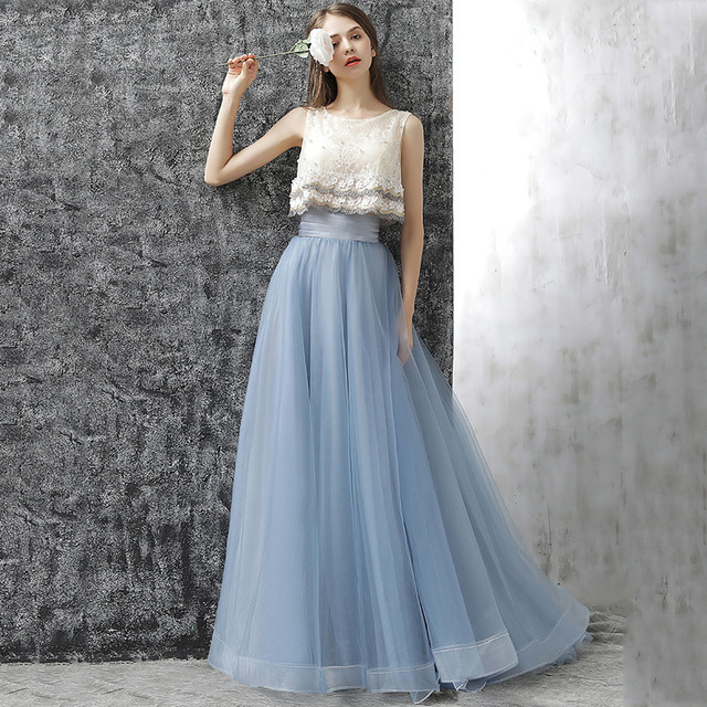 a717aae7e337 Vintage Pretty Sea Blue Color Long Tulle Skirts For Women To Party Custom  Made High Wide Waistband Ruffles Tulle Skirt Zipper
