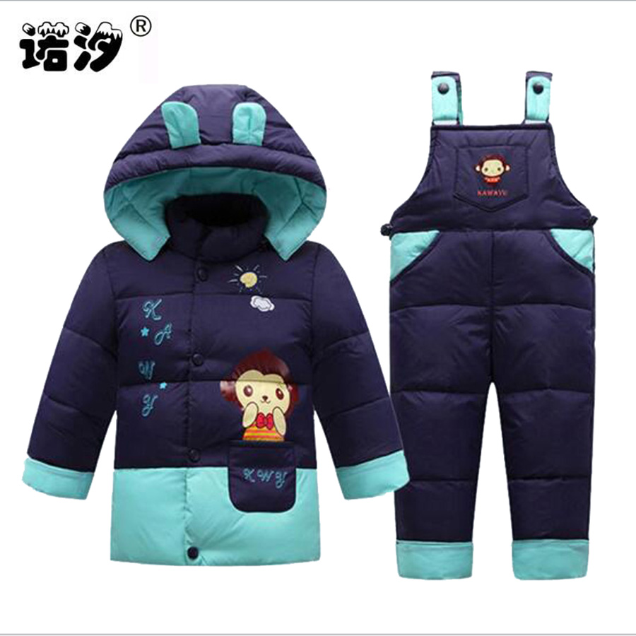 new born baby winter duck down clothes baby thicken clothing sets 0-3 Y kids pants+tops children causal coat baby outwear sets