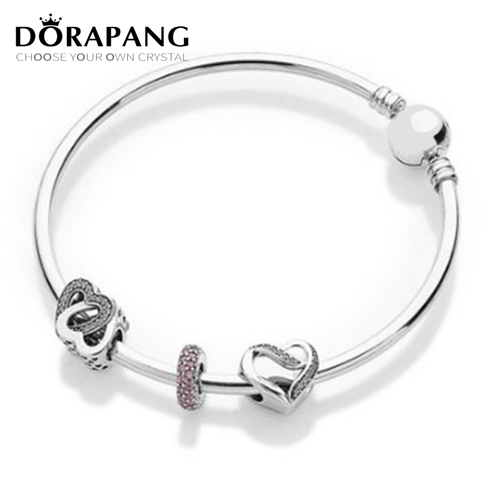 DORAPANG 925 silver products european-american simple style heart accessories with bracelet diy bracelet lover gift