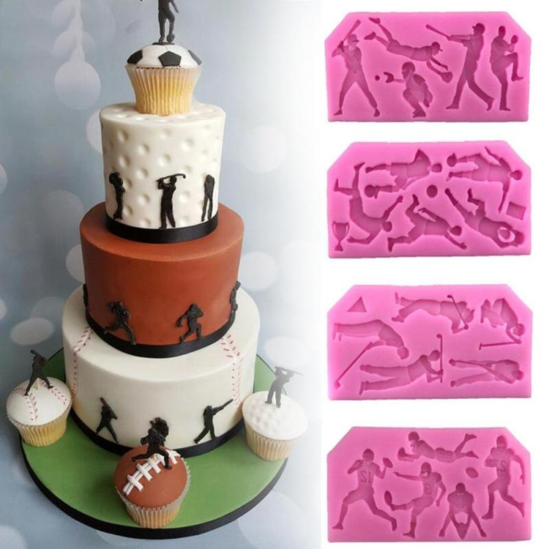 Cake decoration making mold New ball sports people turned sugar cake mold silicone liquid golf mold A20