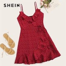 SHEIN Ruffle Detail Self Tie Wrap Slip Mini Dress Women Boho Sleeveless V Neck Summer Dress Ladies 2019 Slim Beach Dress