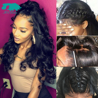 AllRun 360 Lace Frontal Wigs Brazilian Body Wave long Lace Front Human Hair Wigs Pre Plucked With Baby Hair For Women Non Remy