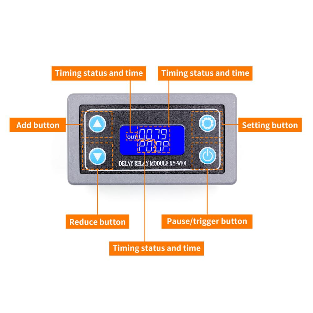 DC12V LED Digital Time Delay Relay Module Programm