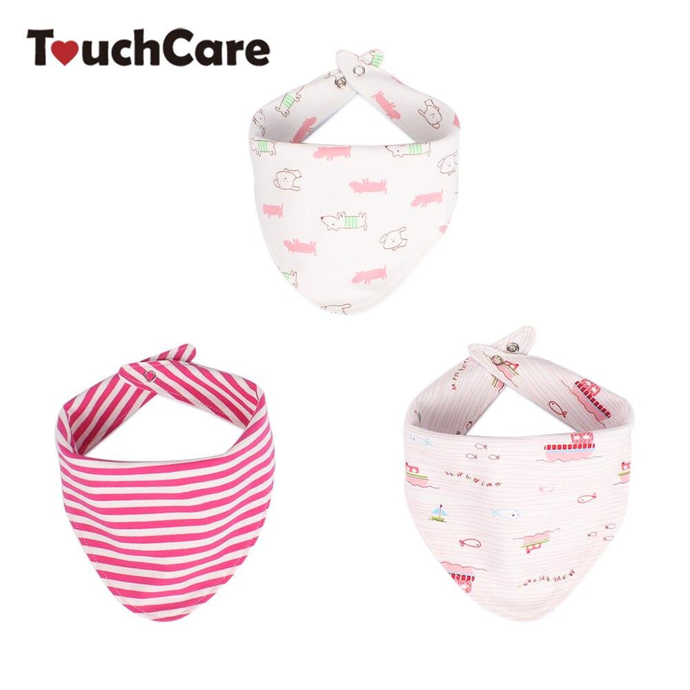 3 Pcs/Lot Pure Cotton Newborn Baby Bibs Cartoon Triangle Waterproof Bib Double Layer Infant Washable Cotton Baby Bibs