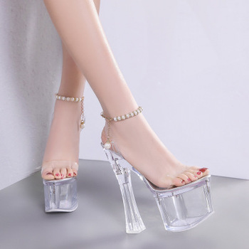 2019 Women Sandals High Quality Transparent Peep Toe Sandals Pumps Women Shoes Thick heel High-heeled 18cm Crystal Lady Shoes