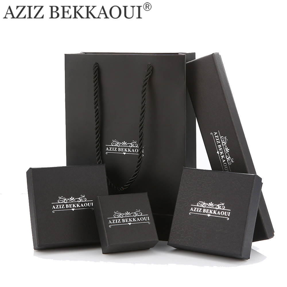 AZIZ BEKKAOUI Brand JEWELRY PACKING BOXES For Bracelet Earring Ring Necklace Cool Black Gift Box Jewelry Boxes Fashion Packaging