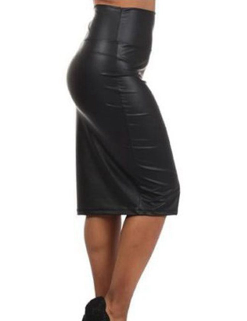 Popular Faux Leather Long Pencil Skirt High Waist-Buy Cheap Faux ...