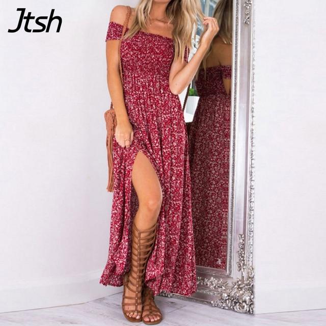 Sexy strapless beach summer dress sundresses Vintage tunika maxi dress Boho floral women split long dress vestidos de fiesta