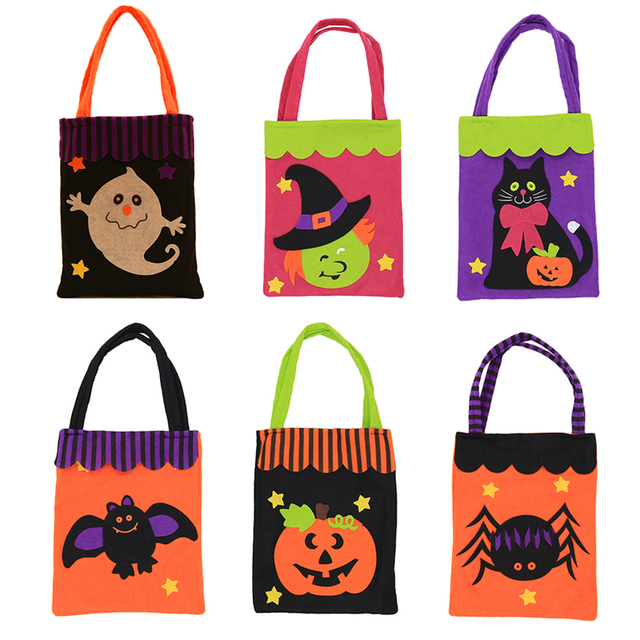 Colorful Halloween Candy Bag Gift Bags Pumpkin Trick Or Treat Bags Sacks Hallowmas Gift For Kids