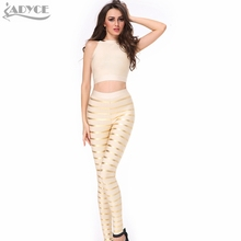 In Stock !2016 New summer  Back Design Oil Print Striped gold silver Bandage pants top  Two Pieces Club Celebrity Party wear