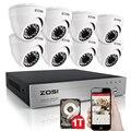 Zosi 8ch cctv sistema de 720 p dvr 8 unids 1280tvl ir al aire libre Sistema de 8 Canales de Vídeo de Vigilancia de Cámaras de seguridad Kit de 1 TB de Disco Duro